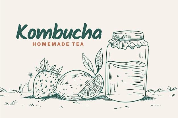 Tè kombucha design disegnato a mano