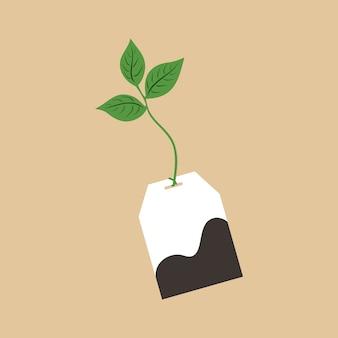 Tè verde del mattino, bustina di tè realistica con foglie di tè