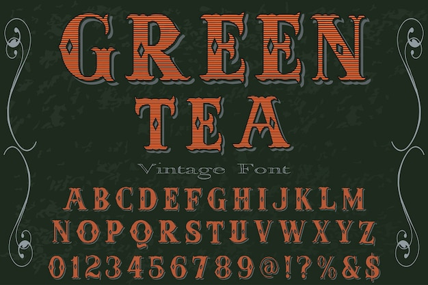 Tè verde di progettazione dell'etichetta di alfabeto di effetto ombra