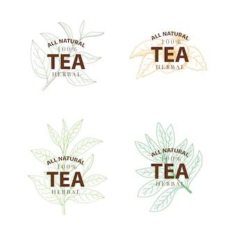 Tea tree. insieme delle etichette d'annata disegnate a mano di vettore isolate su fondo bianco