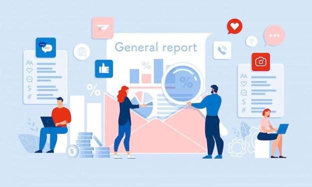 Team auditor che redige il rapporto generale di verifica dei media
