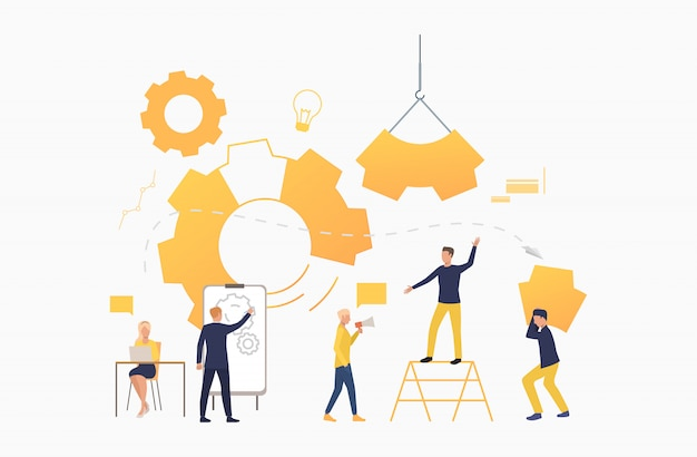 Team aziendale che lavora come meccanismo