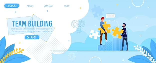 Team building landing page jigsaw puzzle