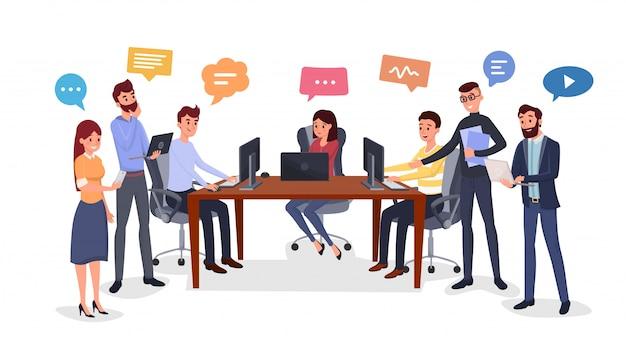 Team di brainstorming, generazione di idee piatte