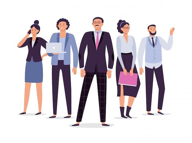 Team di dipendenti aziendali. la direzione di lavoro di squadra, l'impiegato esecutivo di successo e la gente dell'ufficio raggruppano l'illustrazione
