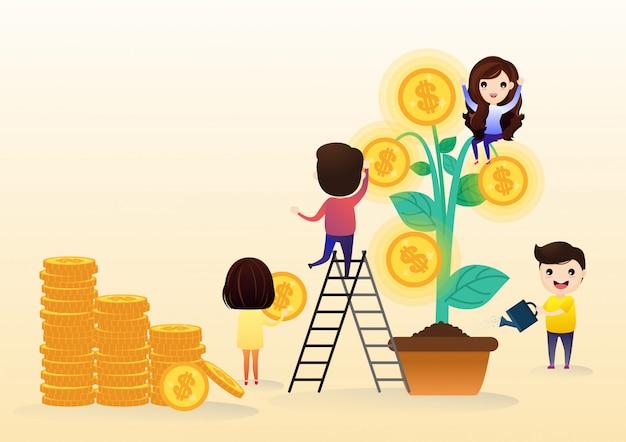 Team di investimenti in crescita con foglia di albero con crescita denaro moneta d'oro.