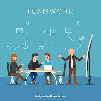 Team di lavoro sullo sfondo in stile piatto