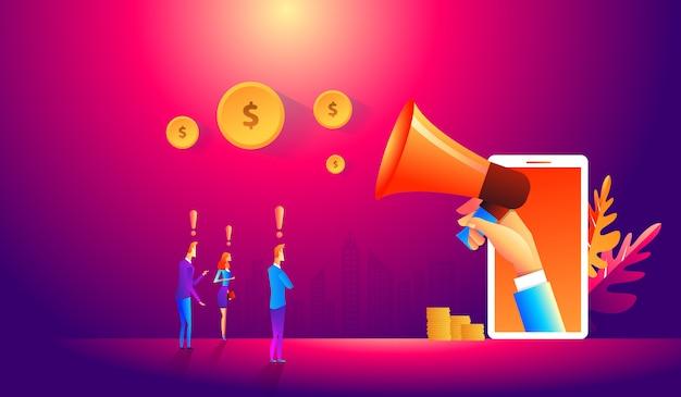 Team di marketing online con il cliente. illustrazione, graphic design