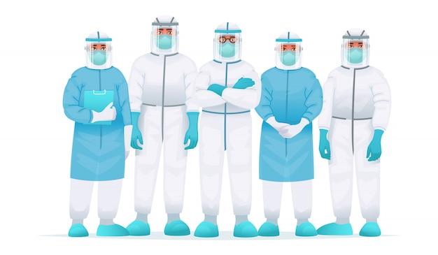 Team di medici in tuta protettiva, mascherina medica e occhiali. lotta contro lo scoppio dell'epidemia di coronavirus covid-2019