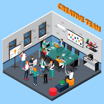 Team isometric illustration creativo