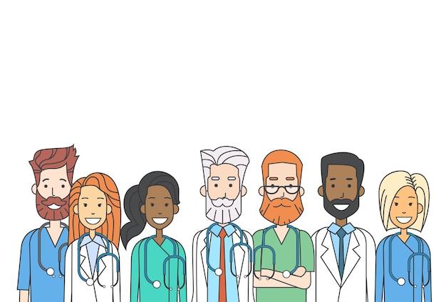 Team medial doctors team work thin line