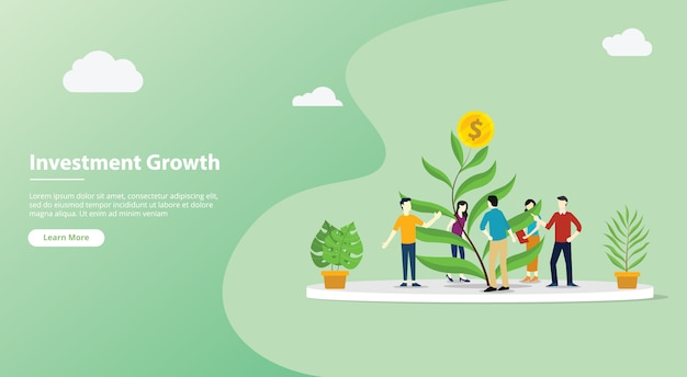Team pagina di modello di sito web di investimento in crescita