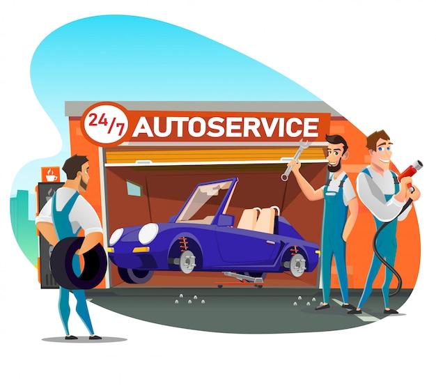 Team specializzato offre montaggio e riparazione pneumatici veloci
