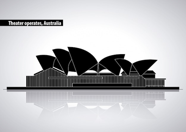 Teatro dell'opera a sydney in australia, illustrazione della siluetta