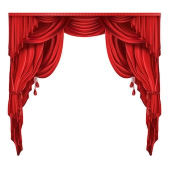 Teatro teatro tende rosse vettore realistico