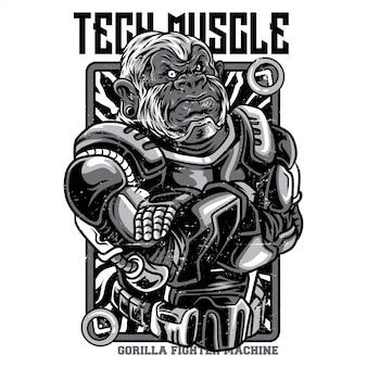 Tech muscle illustrazione in bianco e nero