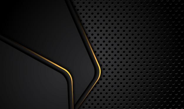 Tech sfondo nero con strisce dorate a contrasto. astratto