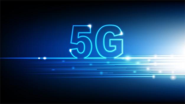 Tecnologia ad alta velocità di internet 5g con fondo futuristico astratto blu, illustrazione