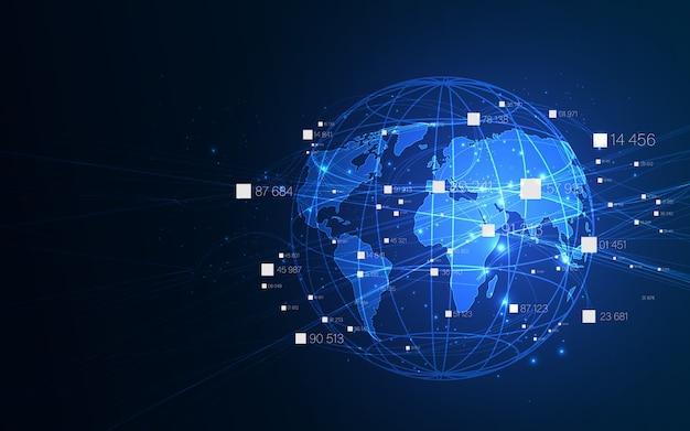 Tecnologia ai, concetto di rete di comunicazione globale.