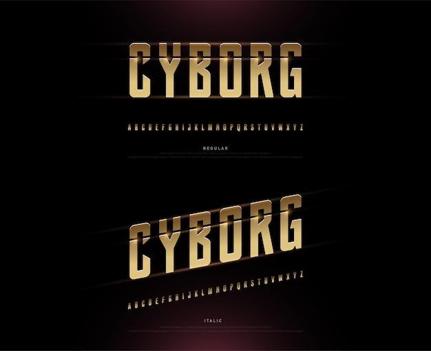 Tecnologia alfabeto oro metallico e disegni di effetto