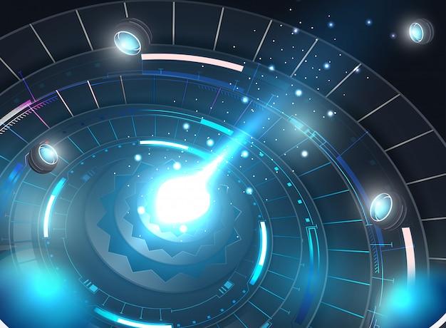 Tecnologia astratta del cerchio. circuito stampato, sfondo di colore ad alto computer