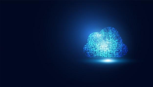 Tecnologia astratta della nuvola su blu scuro con il concetto futuro dei punti grande