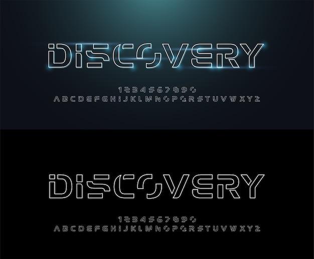 Tecnologia astratta linea neon font e alfabeto