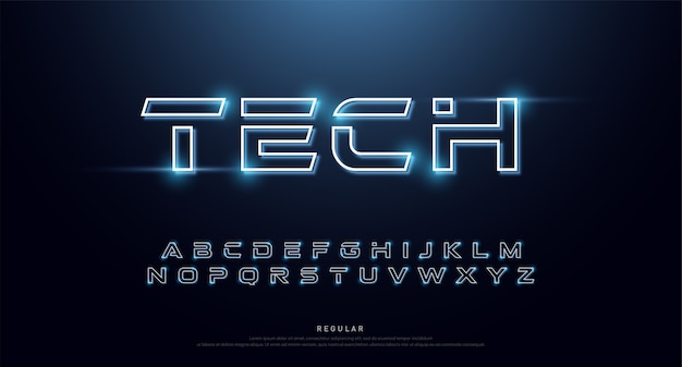 Tecnologia astratta neon font e alfabeto.