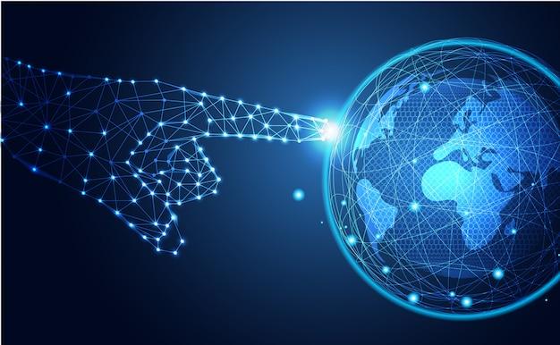 Tecnologia astratta tocca il mondo