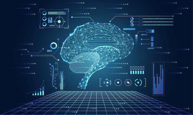 Tecnologia astratta ui elementi di ologramma dell'interfaccia cervello futuristico hud