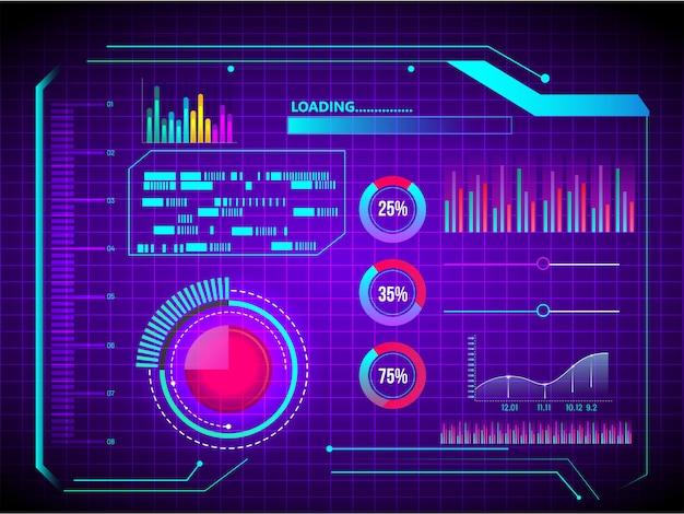 Tecnologia astratta ui futuristico concetto hud interfaccia ologramma elementi di grafico digitale dati e cerchio percentuale vitalità innovazione su sfondo viola.