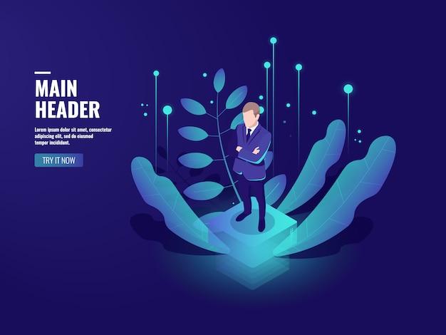 Tecnologia aziendale, icona di banking online, criptovaluta, uomo d'affari rimanere sulla piattaforma