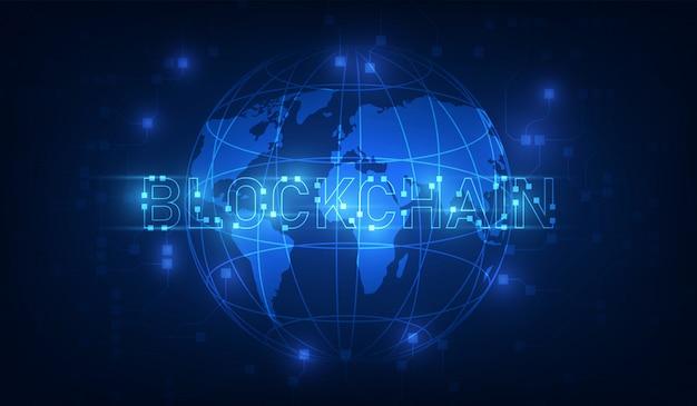 Tecnologia blockchain su sfondo futuristico con la rete di mappe del mondo