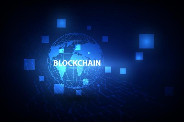 Tecnologia blockchain su sfondo futuristico con la rete di mappe del mondo.
