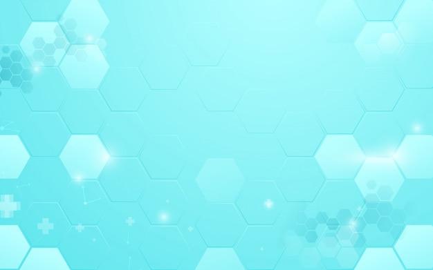 Tecnologia blu astratta del fondo di esagono con il concetto di scienza e medico