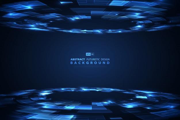 Tecnologia blu astratta di fondo futuristico.