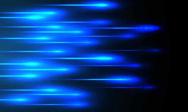 Tecnologia blu della velocità del raggio luminoso futuristica su fondo nero.