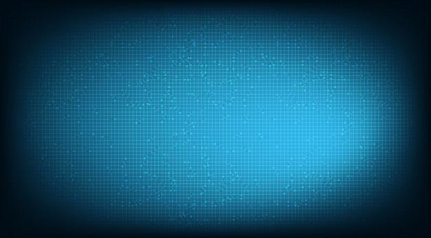 Tecnologia blue microchip circuit su sfondo futuro.