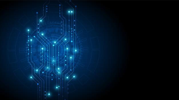 Tecnologia circuitale con sistema di connessione dati digitali hi-tech e progettazione elettronica del computer