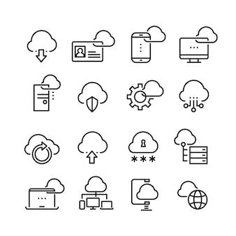 Tecnologia cloud per computer, sicurezza dei dati, accesso alla perfezione icone di linea sottile
