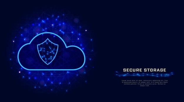 Tecnologia cloud sicura. fondo geometrico protetto di archiviazione di dati digitali.