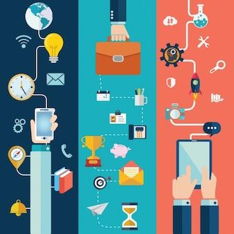 Tecnologia con elementi di affari in design piatto