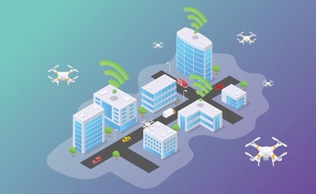 Tecnologia dei droni che volano in cima alla città intelligente con uno stile piatto moderno isometrico