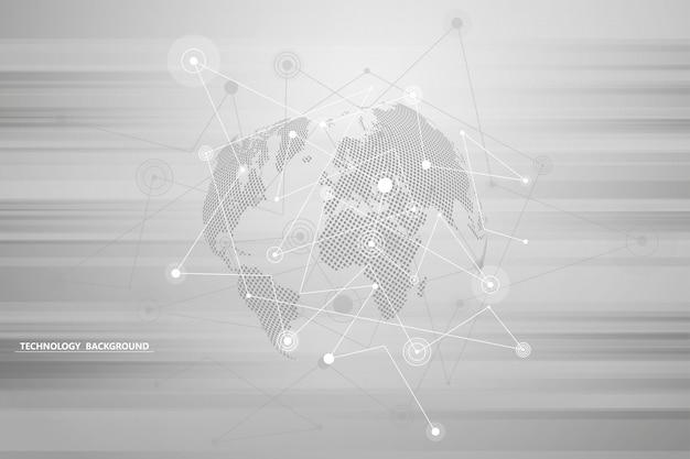 Tecnologia della priorità bassa astratta e progettazione grafica di scienza. collegamento di punti e linee. connessione internet. connessione di rete globale.