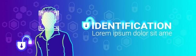 Tecnologia di accesso moderno maschile con scansione del sistema di riconoscimento dell'identificazione del viso