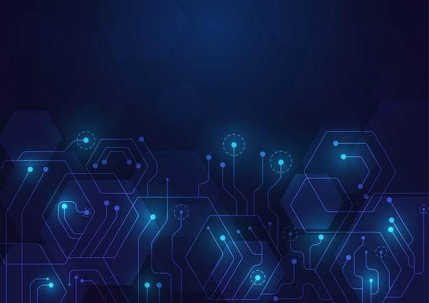 Tecnologia di alta tecnologia geometrica e sfondo del sistema di connessione