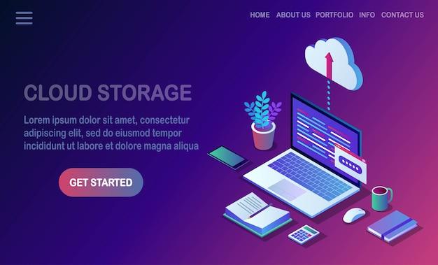 Tecnologia di archiviazione cloud. backup dei dati. laptop isometrico, computer, pc con telefono cellulare sullo sfondo. servizio di hosting per sito web.