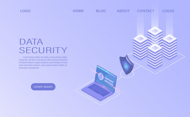 Tecnologia di archiviazione cloud della sala server del data center e elaborazione di grandi quantità di dati protezione del concetto di protezione dei dati. informazione digitale. isometrico