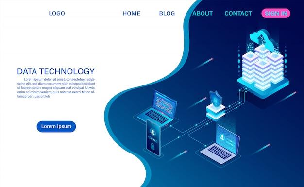 Tecnologia di archiviazione cloud della sala server di datacenter ed elaborazione di big data protezione della sicurezza dei dati. informazione digitale. isometrico. vettore di cartone animato
