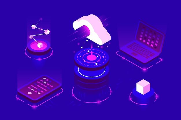 Tecnologia di archiviazione cloud web isometrica
